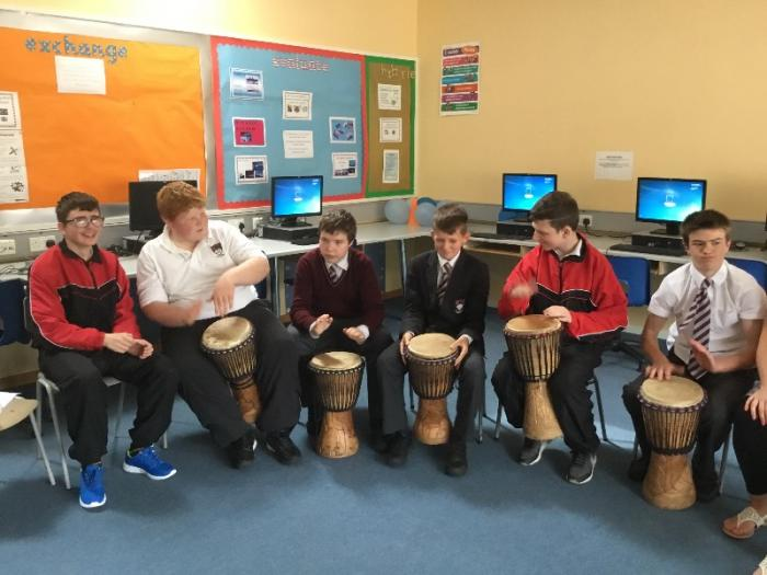 Year 10 enjoy drumming with Wilson from Zimbabwe.